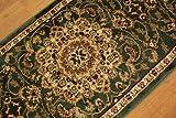 廊下敷きサイズ ランナーマット ( レジェンド1 ) 約80х240cm グリーン ペルシャデザイン  トルコ製 ウィルトン織