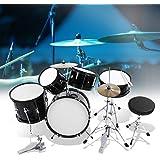 5 Drum Set, Black Kids Junior Drum Kit Stool Drumsticks Pedal Beginners Set Percussion Musical Instrument for Children Beginn