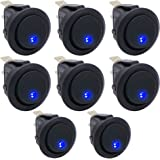 Twidec/8Pcs 20A 12V DC On/Off SPST Round Dot Rocker Toggle Switch Control for Car Or Boat with Blue LED Light KCD2-102N-BU