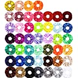 ZZICEN Satin Scrunchies Silk Scrunchies Hair Elastics Scrunchies Hair Bands Ties for Women Girls, 46 Colors