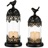 Nuptio Vintage Pillar Candle Holders Moroccan Wrought Iron Hurricane Candle Holder Ornate Centerpiece for Mantlepiece Decorat