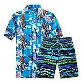 SemiAugust(セミオーガスト)メンズ 夏 上下セット アロハシャツ カラフル ワイシャツ おしゃれ プリントシャツ 半袖 ビーチシャツ 沖縄 ハーフパンツ セットアップ 旅行 通気速乾 (F3 M)
