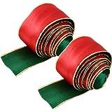 2pcs Package Ribbon Christmas Decorative Ribbon Silk Ribbon for Christmas Decoration Use 3.8cm 15g (Green Red) Christmas Deco