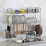 Dish Rack, 2-Tier 304 Stainless Steel Adjustable Dish Rack,Over The Sink Kitchen Storage Shelf (Double Groove),81.5 cm