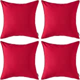 MIULEE Pack of 4 Christmas Decorative Outdoor Waterproof Pillow Cover Square Garden Cushion Case PU Coating Throw Pillow Cove