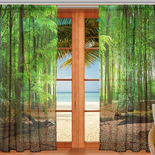 マキク(MAKIKU) レースカーテン 遮光 断熱 遮熱 ミラーレースカーテン ドアカーテン おしゃれ シェードカーテン 森 緑 グリーン アメリカ式 北欧 欧米風 ヨーロッパ風 UVカット 薄手 目隠し 幅140cm×丈200cm 2枚組