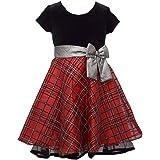 Bonnie Jean Christmas Dress - Holiday Black Velvet Red Plaid Short Sleeve for Little Girls Size 4-6X