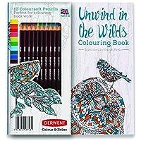 ダーウェント Derwent アンワインドカラーリングブック (心を癒す塗り絵本)油性色鉛筆 カラーソフト10本 セット