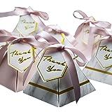 Awcmtpsyol 三角形 ピラミッド 大理石 キャンディボックス 結婚式の記念品 ギフトボックス チョコレートボックス ボンボニエラ ギブアウェイボックス パーティー用品 72 * 72 * 80