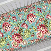 Carousel Designs Coral and Teal Floral Crib Sheet by Carousel Designs