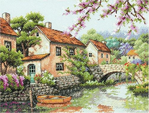 """ディメンジョンズ クロスステッチ 刺繍キット""""小さな町の運河""""      Dimensions Needlecrafts Counted Cross Stitch, Village Canal    DIM クロスステッチキット Village Canal   [並行輸入品]"""