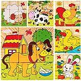WDYJMALL 9ピース木製ジグソーパズルブロック3dキューブパズルのおもちゃ子供子供男の子女の子 - 農場動物犬羊アヒル鶏ウサギウサギ乳製品牛