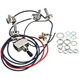 LP Electric Guitar Wiring Harness Kit Replacement 2T2V 3 Way Toggle Switch 500K Pots&Jack for Dual Humbucker Gibson Les Pual
