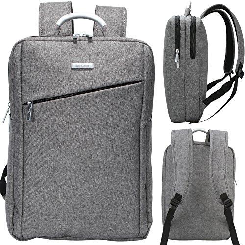 iHOVEN ラップトップバックパック タテ型 多機能 PCバッグ リュックサック ノートパソコン A4サイズ対応 男女兼用 通勤 通学 出張 就活 旅行パソコンバッグ 軽量 iPad タブレット収納14~15.6インチのPC対応(グレー)