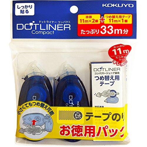 テープのり のり ドットライナー コンパクト お徳用パック 本体 2個 詰め替え 1個 タ-DM4500-08X2-1R
