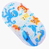 Baby Children Shower Mat Non Slip for Kids with Suction Cups for Tub Natural PVC Octopus