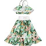 LXXIASHI 2PCS Toddler Kids Baby Girl Off Shoulder Sunflower Crop Tops + Long Dress Outfit Clothes Floral Skirt Sets