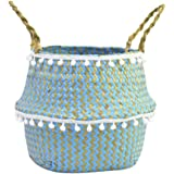 Woven Basket, Natural Seagrass Wicker Basket, Blue Belly Foldable Basket Straw Bag for Home Toys Storage Laundry Picnic Garde