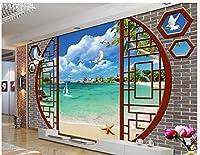 Wapel カスタムの写真の壁紙 3 次元立体の青い空、海・ビーチ・ダブ・ツリーテレビ背景 3 D の壁画壁紙 絹の布 200x140CM