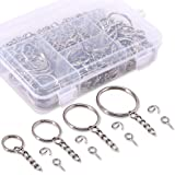 Swpeet 300Pcs Sliver Key Chain Rings Kit, 100Pcs Keychain Rings with Chain and 100Pcs Jump Ring with 100Pcs Screw Eye Pins Bu