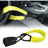 Steering Wheel Lock Safety Seat Belt Lock Security Vehicle Lock Anti-Theft Light-Weight Lock Fit Most Cars SUV, Yellow, 2 Key