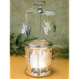 Spinning Angels Candle Holder with Frosted Glass Scandinavian Design