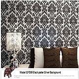 ヴィンテージクラシックブラック&リビングルームベッドルームテレビの背景のための銀のフランス現代ダマスク特集壁紙ウォールペーパーロール0.53M*10M=5.3㎡ [並行輸入品]