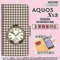 手帳型 ケース 506SH スマホ カバー AQUOS Xx3 アクオス チェック時計 ピンク nk-004s-506sh-dr1221