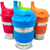 Penguinni Stainless Steel Sippy Cups | 4 Pcs of 10 oz Cups Non-Spill Sippy Cups For Toddlers | Break-Proof and No Leaks Sippy