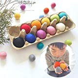Felt Balls Montessori Toy Sensory Play, Counting Game, Pretend Cooking Toddler, Wool Jumbo Large 4cm Felted Ball x10, Learn C