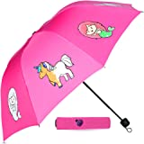 Pink Color Changing Compact Kids Umbrella for Girls! This Totes Umbrella for Kids Displays Colorful Mermaid & Unicorns When i
