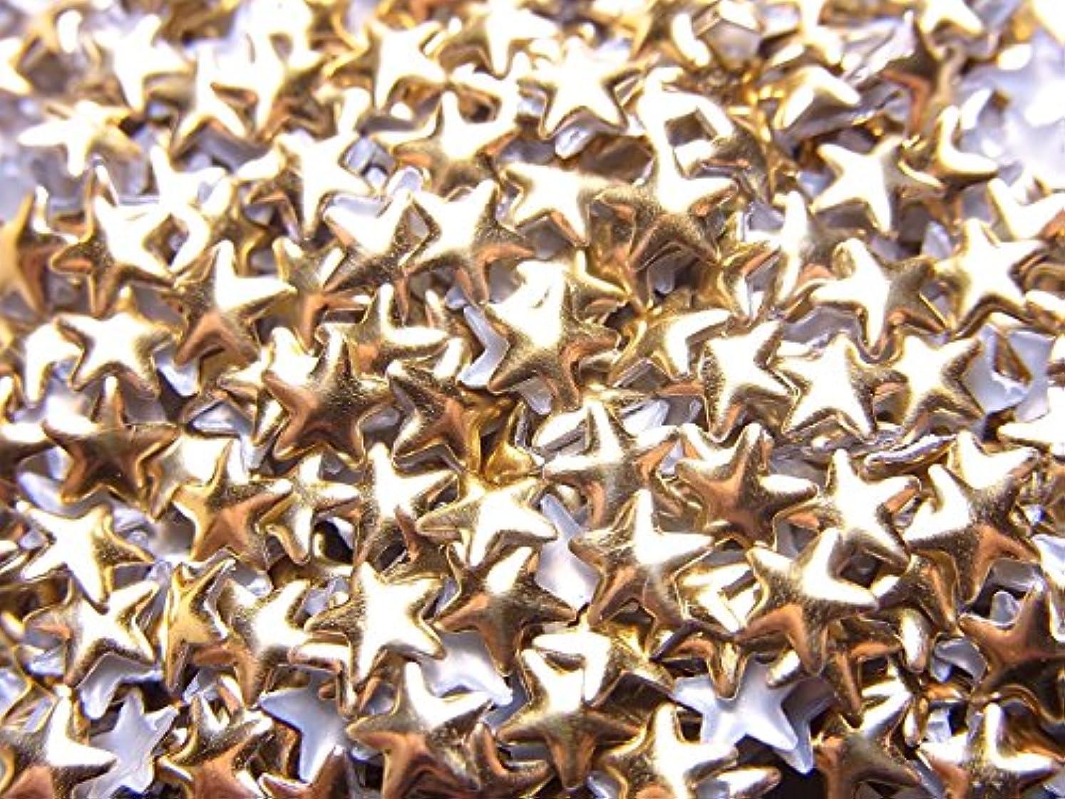 電報限り法的【jewel】スター型(星)メタルスタッズ 4mm ゴールド 約100粒入り