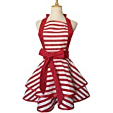 Hyzrz Lovely Red Handmade Cotton Retro Aprons for Women Cake Kitchen Cook Apron for Mother's Gift