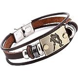 Hamoery Punk Beaded Alloy Multilayer Braided Rope Constellation Leather Cuff Bracelet Bangle Wristband
