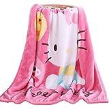 FSKY Throw Blanket Hello Kitty Blankets Cartoon Printing Cover Flannel Super Soft Plush Beach Sherpa for Adults Boys Girls Ki