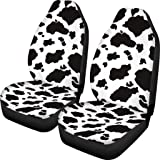 Dreaweet Stylish Cow Print Auto Seat Covers Black&White Front Seat Protector Fit for Most Cars, Sedan, SUV, Van 2 Pcs