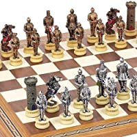 Medieval Chessmen & Fulton Street Chess Board From Spain. by