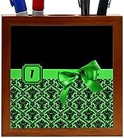 Rikki Knight Letter I Green Monogram Damask Bow Design 5-Inch Tile Wooden Tile Pen Holder (RK-PH41867) [並行輸入品]