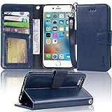 【Arae】iPhone6s ケース/iPhone6 ケース 手帳型「 スタンド機能 カードポッケト ストラップ」人気 おしゃれ 落下防止 衝撃吸収 財布型 おすすめ アイフォン6/アイフォン6s 用 カバー ケース (ダークブルー)