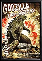 Godzilla–King of the Monsters映画ポスターヴィンテージ (24x36) Premium Matte Black Wood Framed Poster