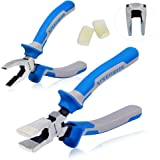 SPEEDWOX Glass Running Pliers and Breaker Grozer Pliers Set 2Pcs with 2 Pair of Rubber Tips Professional Glass Grozing Pliers