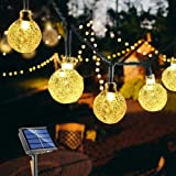 Solar String Lights Globe 33 Feet 60 Crystal Balls Waterproof LED Fairy Lights 8 Modes Outdoor Starry Lights Solar Powered St