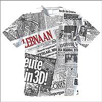 ニュースペーパーパッチワークTシャツ (S)
