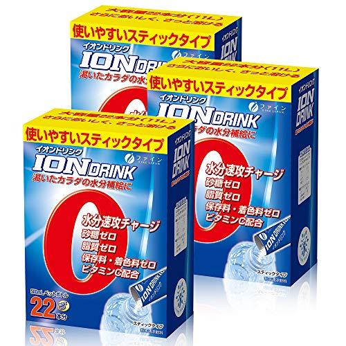 ファイン イオンドリンク 砂糖不使用 カロリーゼロ スポーツドリンクの味 22包入×3個セット