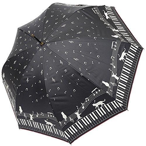 (マコッカ) macocca 晴雨兼用 紫外線99%カット 猫 ネコ 音符 ピアノ柄 シルバーコーティング ジャンプ傘 日傘 雨傘 兼用 ブラック