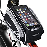 MOREZONE 自転車 スマホホルダー タッチバッグ スマートフォンアクセサリー サイクリング大容量収納フレームバッグ 5.5インチ iphone 7 plus对応 (人気黒)