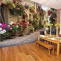 Lcymt ヨーロッパの街並みのカスタム壁画壁紙花フル壁の壁画プリント家の装飾写真の壁紙3D-250X238Cm