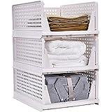 衣類 収納ボックス キッチン収納ケース 折り畳み 省スペース 超安定 通気性良く 収納ボックス クローゼット用 3個セッ…