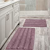 Non Slip Thick Shaggy Chenille Bathroom Rug Mat Set Extra Soft and Absorbent Striped Floor Rugs, 2 Piece, Machine-Washable 32