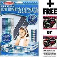 Rhinestone Headbands Set: Press-On Craft Kit Series + FREE Melissa & Doug Scratch Art Mini-Pad Bundle (92456) [並行輸入品]